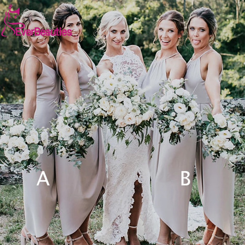 Vestido Madrinha Light Grey Wedding Bridesmaid Dresses 2020 Spaghetti Strap High Low V-neck Wedding Guest Dress Vestido De Festa