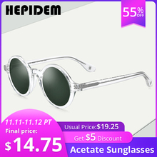 HEPIDEM Acetate Vintage Polarized Sunglasses Men Gregory Peck Brand Design Clear Round Sun Glasses for Women Retro Shades ZOLMAN