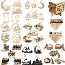 Ramadan eid mubarak decorações de madeira para decoração de casa placa de madeira pendurado pingente islam muçulmano evento festa suprimentos