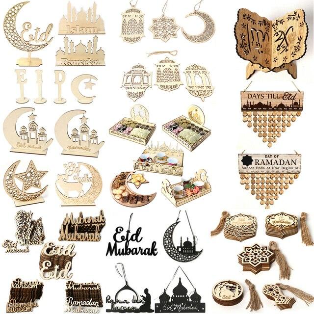Wooden Ramadan Eid Mubarak Decorations for House decoration Wooden Plaque Hanging Pendant Islam Muslim Event Party Supplies