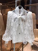 2020 Summer Ladies Blouse Shirts Women Lace Embroidery Lining Long Lantern Sleeve White Bow Collar Vintage Single Breasted Shirt