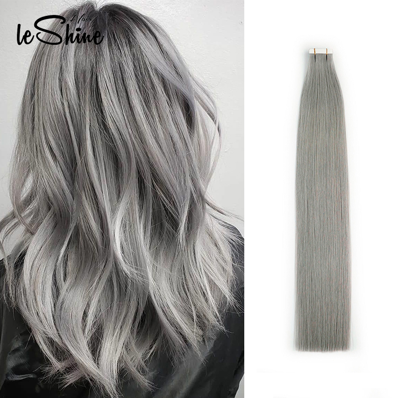 Leshine Human Hair Extensions Tape In Human Hair Extensions Color Grey Keratin Hair Extension