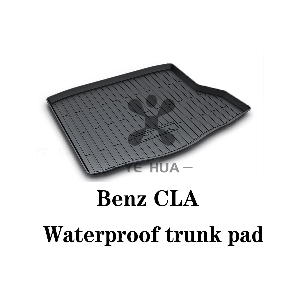 Black Heavy Duty Cargo Floor Mat-All Weather Trunk Pad Protection, Trunk Mat Durable HD TPO Fit For Mercedes-Benz CLA 15-19