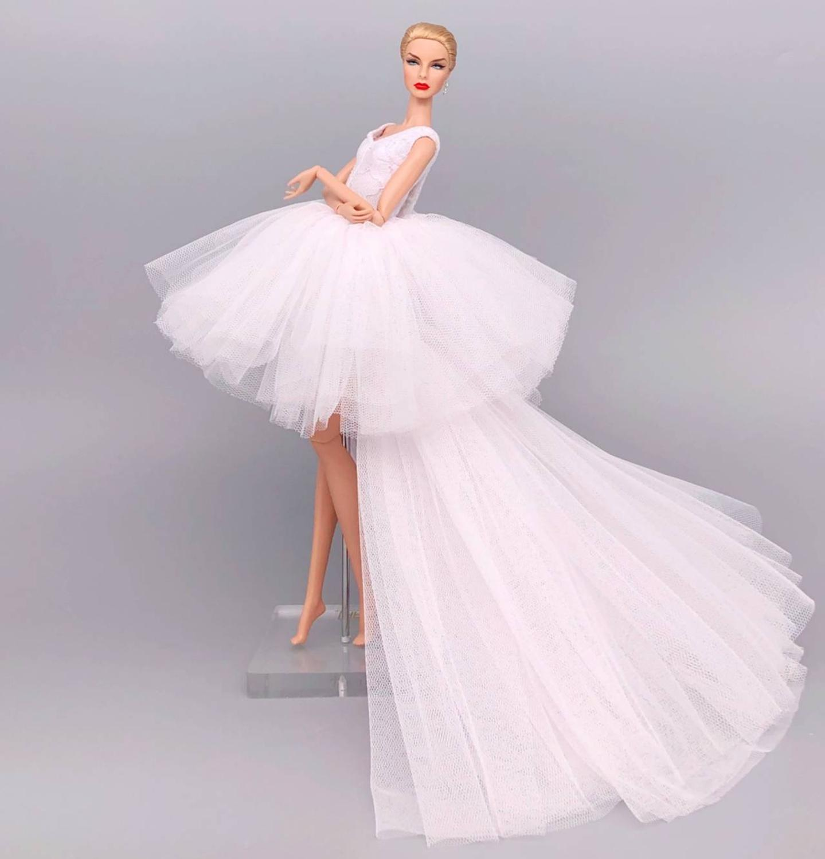 Fashion Original For Elegant Lady Wedding Dress For Barbie Doll Clothes Princesa Barbie Dress Long Dress Accessories