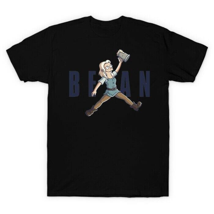 Air Jumping Disenchantment Princess Bean While Holding Beer Funny Black T Shirt