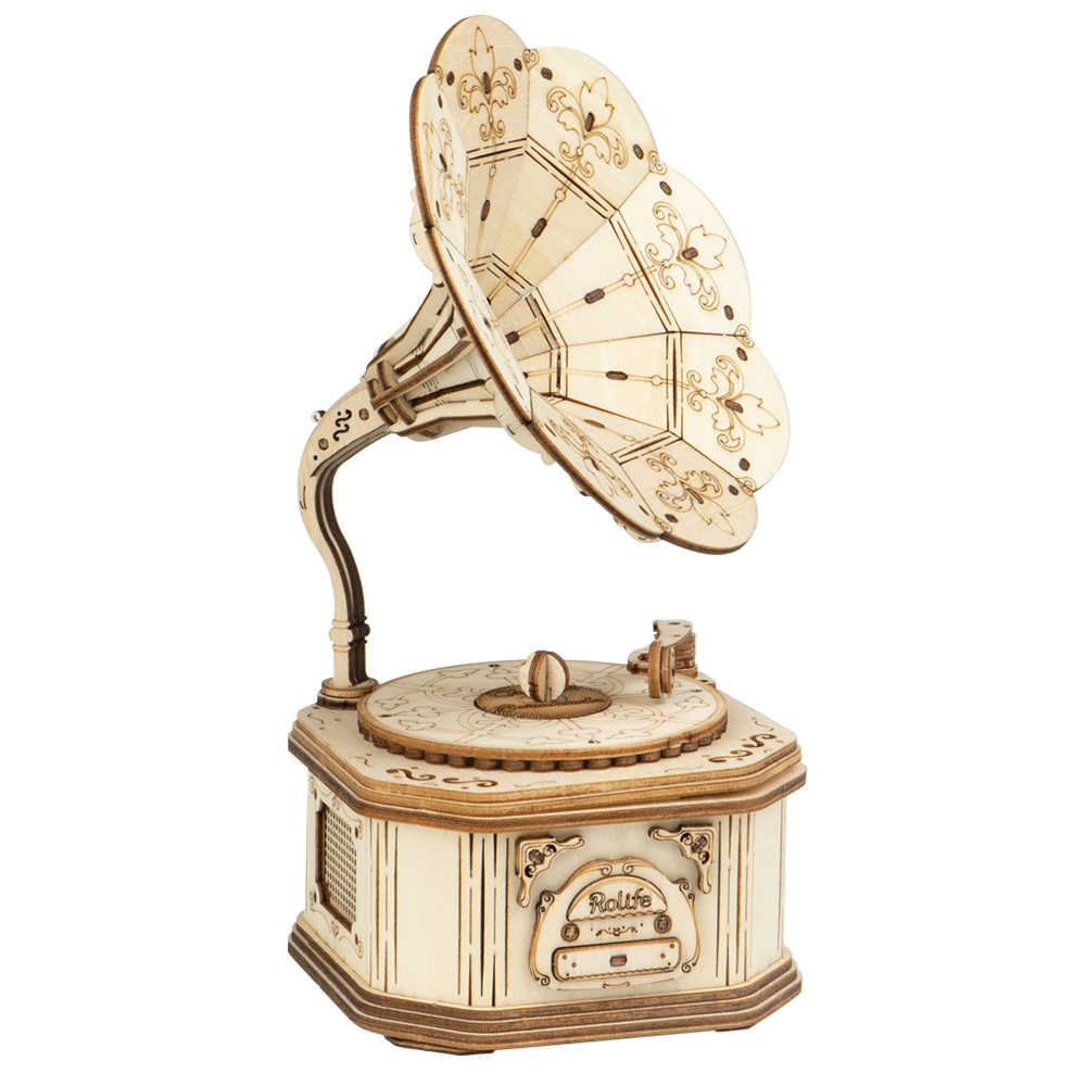 ROKR Stem Toys Wooden 3D Puzzle Gramophone 3d Modeling Building For Gift