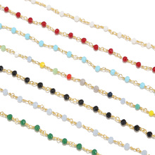 1 Meter 18k Gold Plated Glass Faceted Beaded Brass Chain 4mm Beads Wire Wrapped Rosary Golden  for DIY Jewelry
