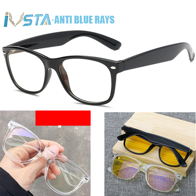 IVSTA Clear Glasses Computer Anti Blue Rays Blue Light Blocking Square Gaming Glasses Men Prescription Frame Myopia Rivet 2140