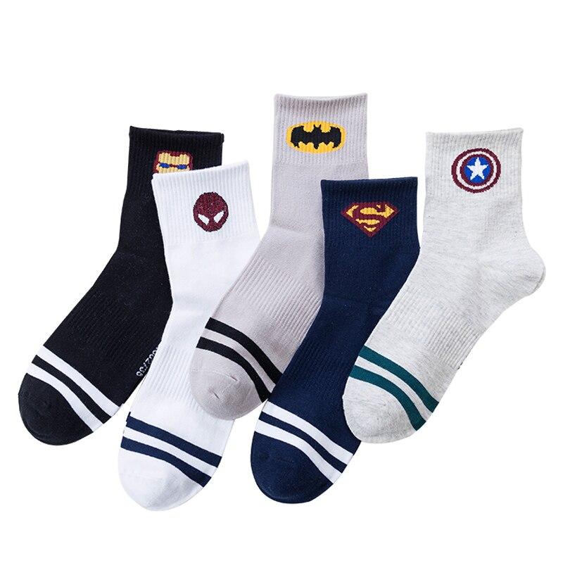 Casual Style Avenger League Batman Spiderman Iron Men Ventilation Sox Harajuku Men Socks Cotton Solid Hip Hop Funny Sock