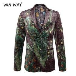 Winway blazer männer pfau druck anzug Schal Revers Blazer Designs Plus Größe 4XL Samt Anzug Jacke DJ Club Bühne Sängerin kleidung