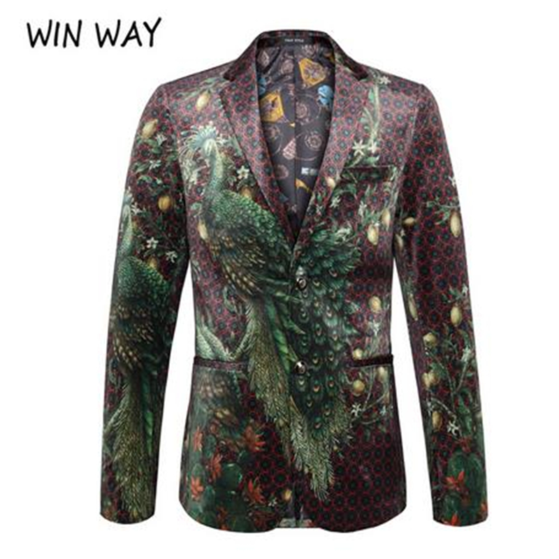 Winway Blazer Men Peacock Printing Suit Shawl Lapel Blazer Designs Plus Size 4XL Velvet Suit Jacket DJ Club Stage Singer Clothes