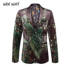 winway blazer men peacock printing suit Shawl Lapel Blazer D