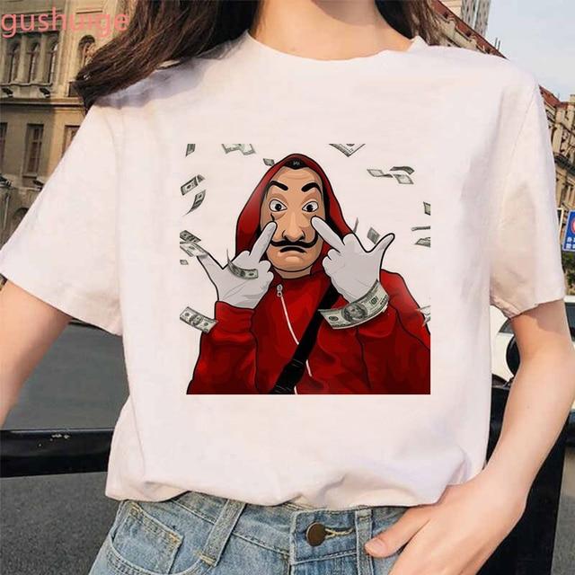 New Money Heist Tshirt The House of Paper La Casa De Papel T Shirt Women Summer Casual Dali Mask Casa De Papel T-shirt