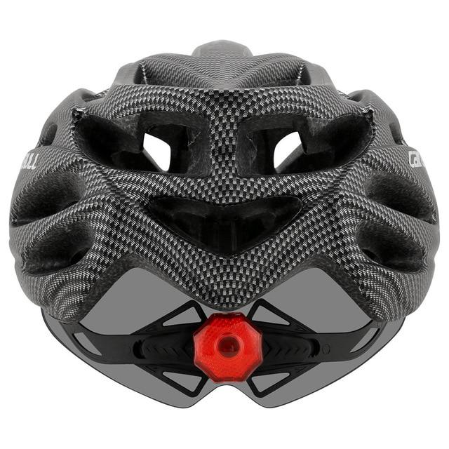 Cairbull ultraleve ciclismo capacete com viseira removível óculos de proteção da bicicleta lanterna traseira intergrally-moldado mountain road mtb capacetes 230g 4