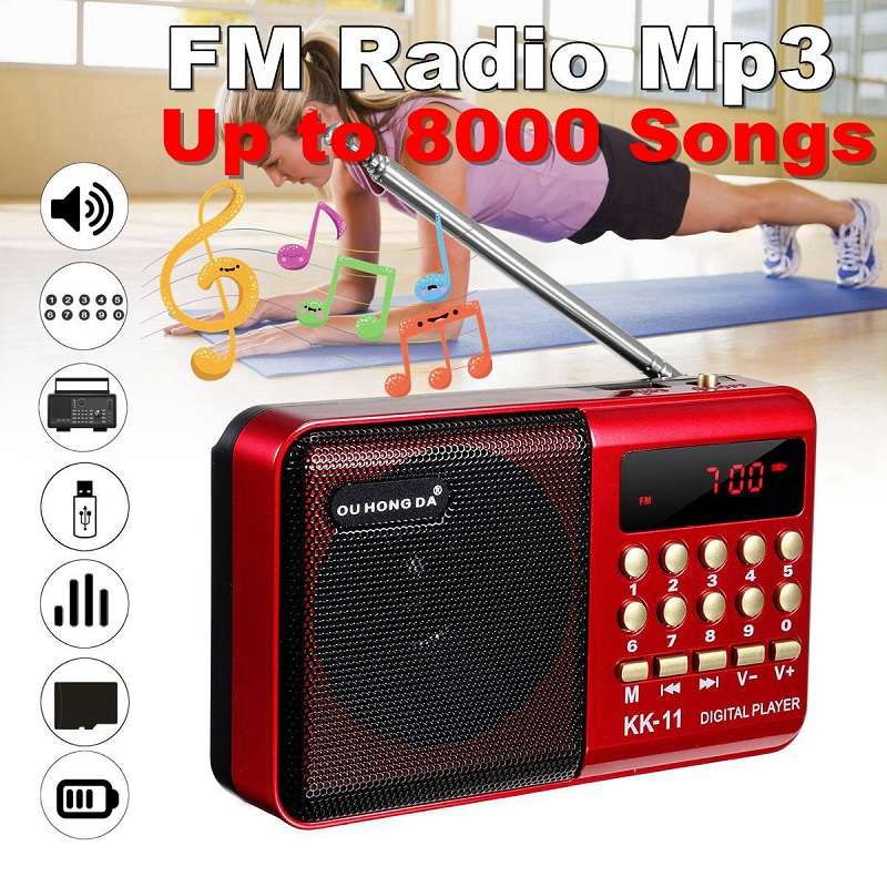 Mini Tragbare Radio Handheld Digital FM USB TF MP3 Player Lautsprecher Wiederaufladbare