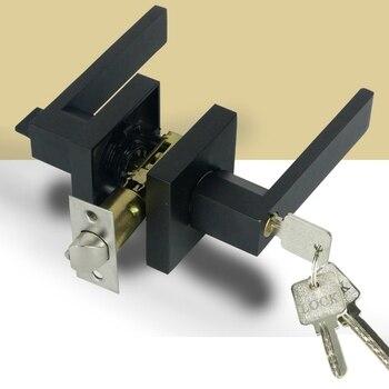 ドアハンドルドアハンドルロック正方形チャンネルプライバシーマスクインテリア寝室のバスルーム 3 バー球状ロック -