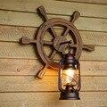 Американский Ретро светодиодный настенный светильник креативный твердый деревянный фонарь декор для бара  кафе настенный светильник для к...