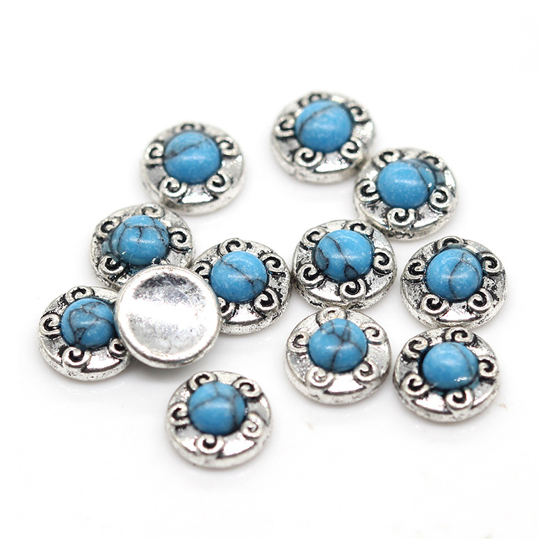 New Style Retro Literature And Art Stone Accessories Nail Ornament Metal Flower Type Phototherapy Nail Patch Decoration Direct S