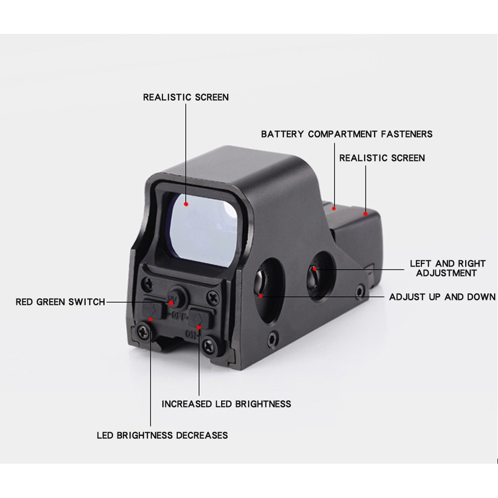 Clearance SaleùTactical-Scope Holographic Airsoft-Optic Hunting Collimator Sight Dot Rail 20mm Red 4-Reticle