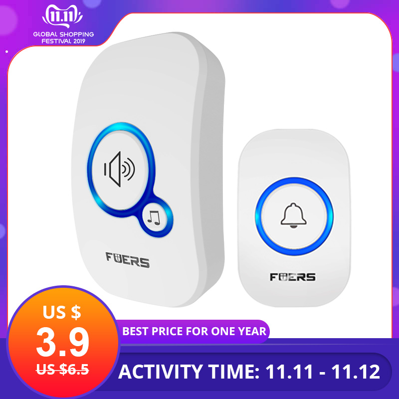 FUERS M557 Draadloze deurbel Home Security Alarm / Welcome Smart Doorbell 3in1 Multifunctionele deurknop 433MHz Eenvoudige installatie