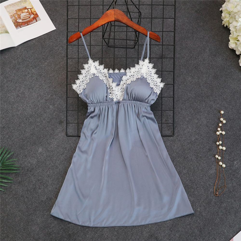Женские пижамы, 5 шт., атласная пижама, шелковая Домашняя одежда, домашняя одежда, вышивка, Пижама для сна, для отдыха, пижама с нагрудными накладками - Цвет: gray C
