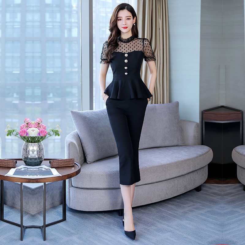 Lace Joint Set 2019 Lace Upper Garment Short Sleeve With Casual Capri Pants Solid Color Set