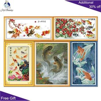 Vreugde Zondag Goud Jade Bloemen Rijkdom Geluk Grote Splash Vis Springen Over Dragon Gate D303D312D313D346D494 (2) kruissteek