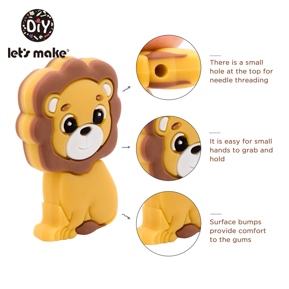 Let's Make 50PC Silicone Lion Cartoon Teething Beads Baby Toys Accessories Silicon Tiny Rodent Pearl Baby Teether Toddler Toys