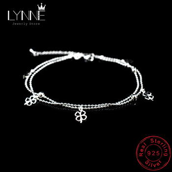 Newest Fashion 925 Sterling Silver Double Layer Small Ball Chain Anklet Lucky Clover Pendant Anklets Bracelet For Women Jewelry
