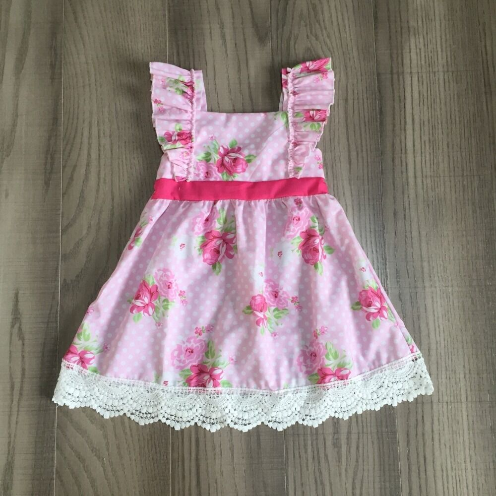 Baby Girls Summer Dress Girls Pink Slip Dress With Lace Hem Girls Classic Dress Wholesale
