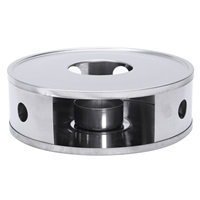 Candle Base Heater Silver Round Coffee Teapot Warmer Trivets Stainless Steel Dish Practical -