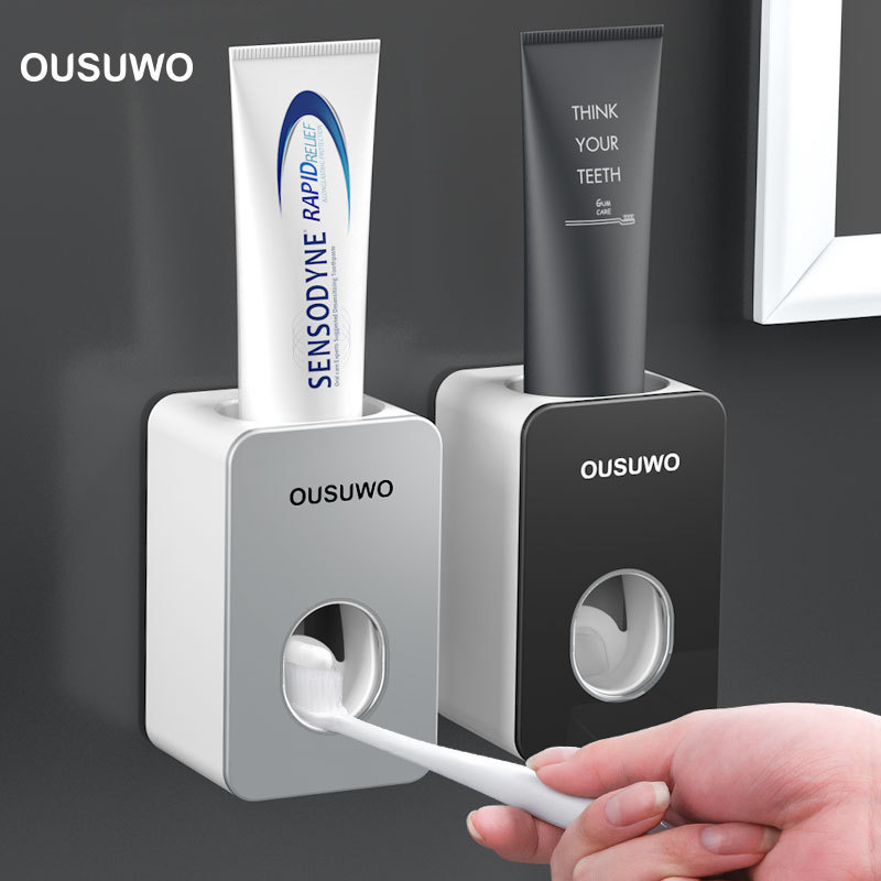 New Automatic Toothpaste Dispenser Toothbrush Holder Wall Mounted Toothpaste Lazy Dispenser Bathroom Accessories Set