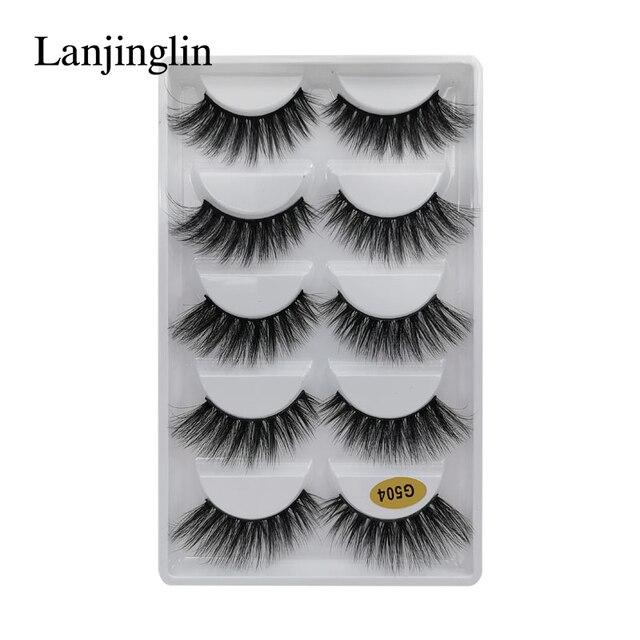 LANJINGLIN 1/3/5 pairs 3D mink hair false eyelashes natural long eye lashes wispy makeup eyelash extension sexy fake lash cilios 4