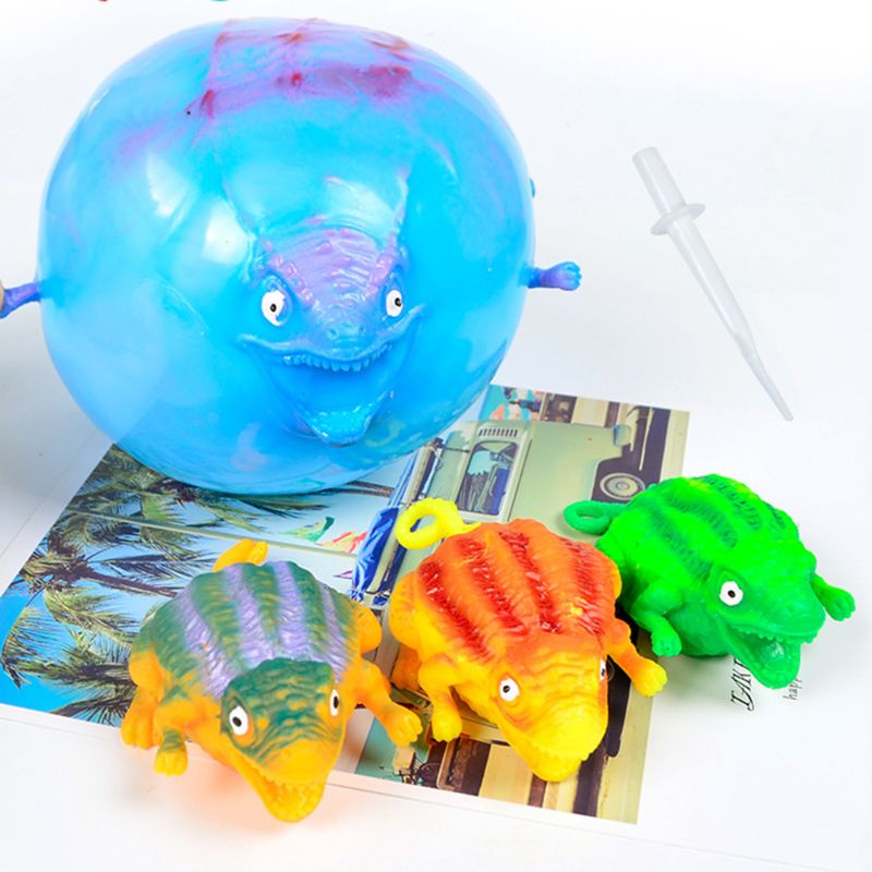 4Pcs/Set Kids Children Funny Blowing Inflatable Animals Dinosaur Balloons Novelty Toys Anxiety Stress Relief Squeeze Ball Gift