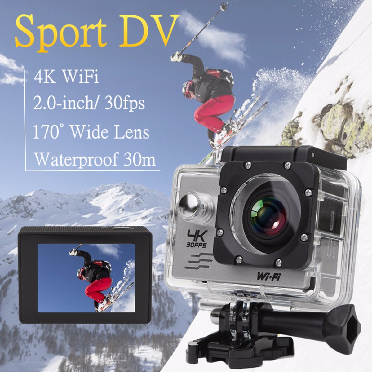 KINCO High Quality HD <font><b>4K</b></font> 1080P 16MP WiFi 170° Underwater Waterproof Sports Action Video DV <font><b>Camera</b></font> Sport Cam <font><b>Mini</b></font> Camcorders image