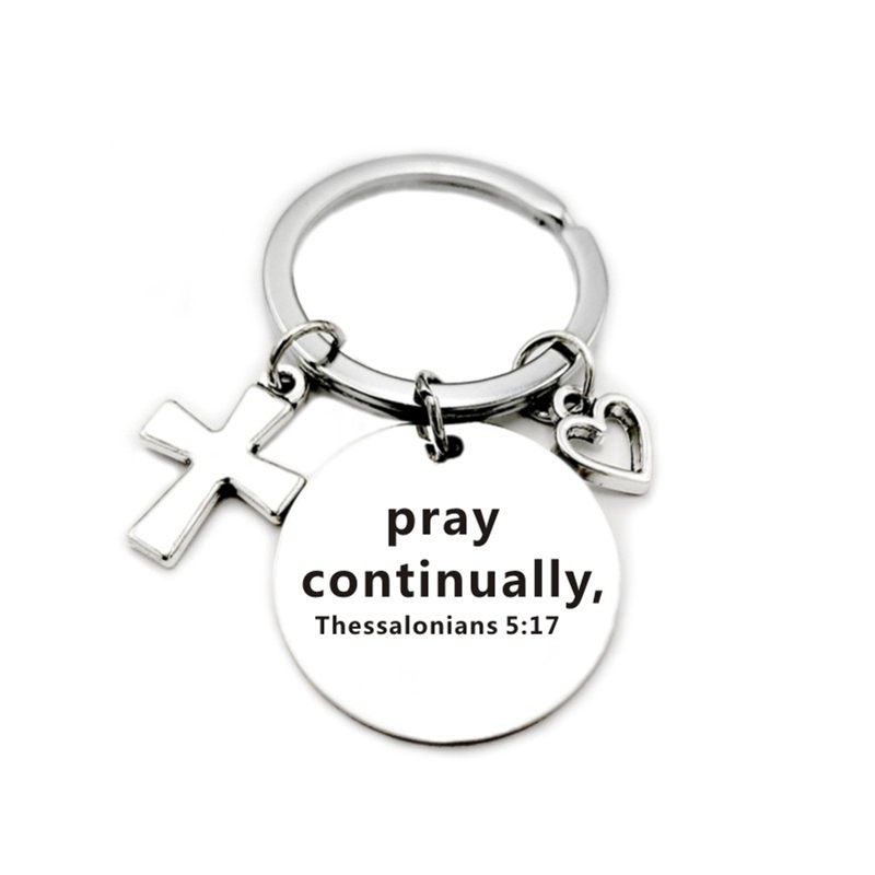 Christian Bible Keychains Cross Heart Charms Scripture Verse Stainless Steel Pendant Key Chain Religious Faith Jewelry