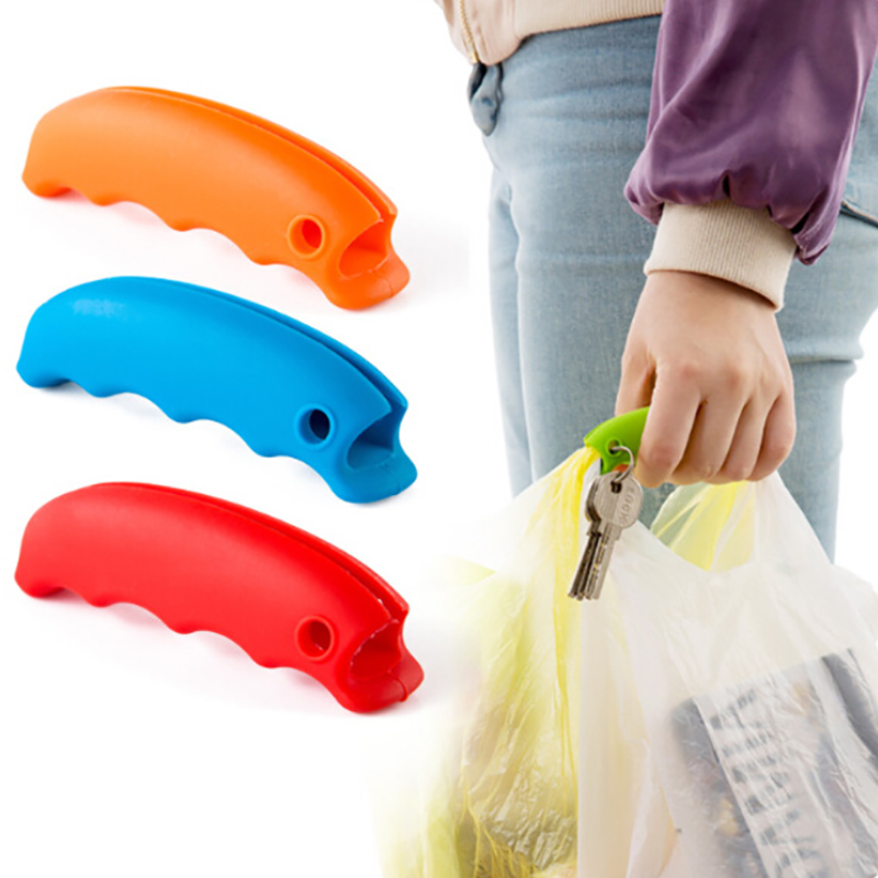 1 Piece Shopping Bag Clips Key Chain Buckle Plastic Bag Soft Carrying Handle Silicone Knob Relaxed Carry Handle JJJRY505
