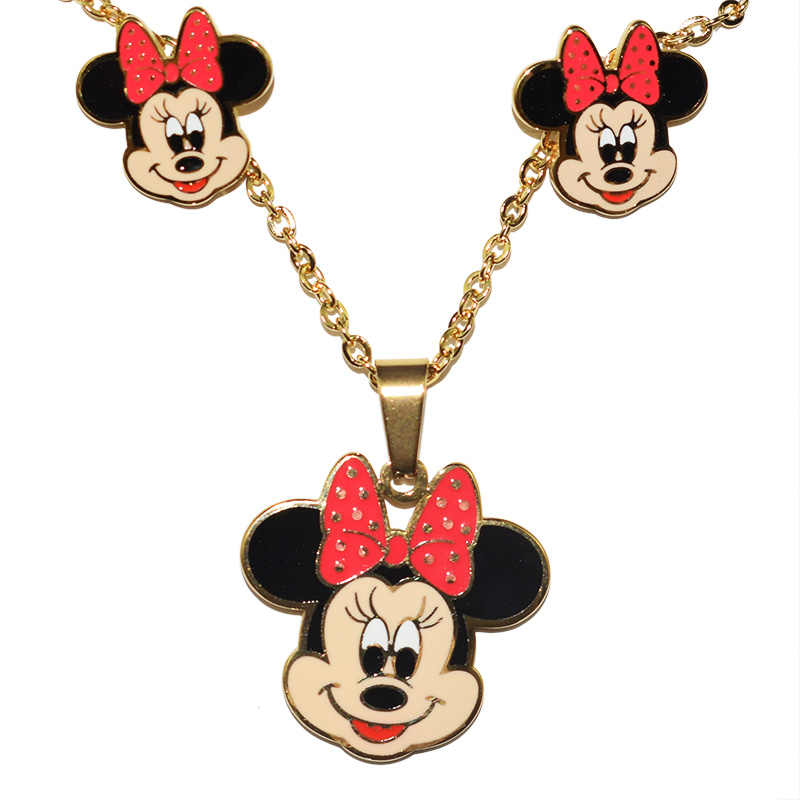 Child Cartoon Mickey Minnie necklaces pendants Stainless Steel 100% Golden Plated Necklace Earrings Set Girl Jewelry Set Gift