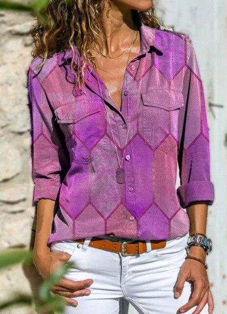 2020 Autumn Casual Women Blouse Shirts Retro V Neck Button Long Sleeve Tops Elegant Office Ladies Plus Size Shirt Blusa Feminina 5