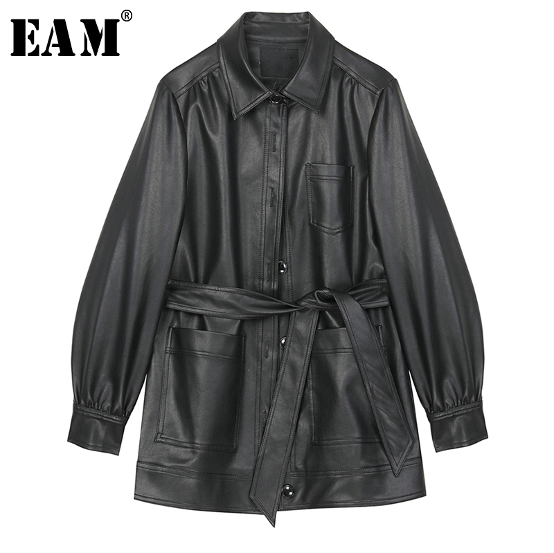 [EAM] Loose Fit Black Bandage Big Pocket Pu Leather Jacket New Lapel Long Sleeve Women Coat Fashion Tide Spring 2020 1R535