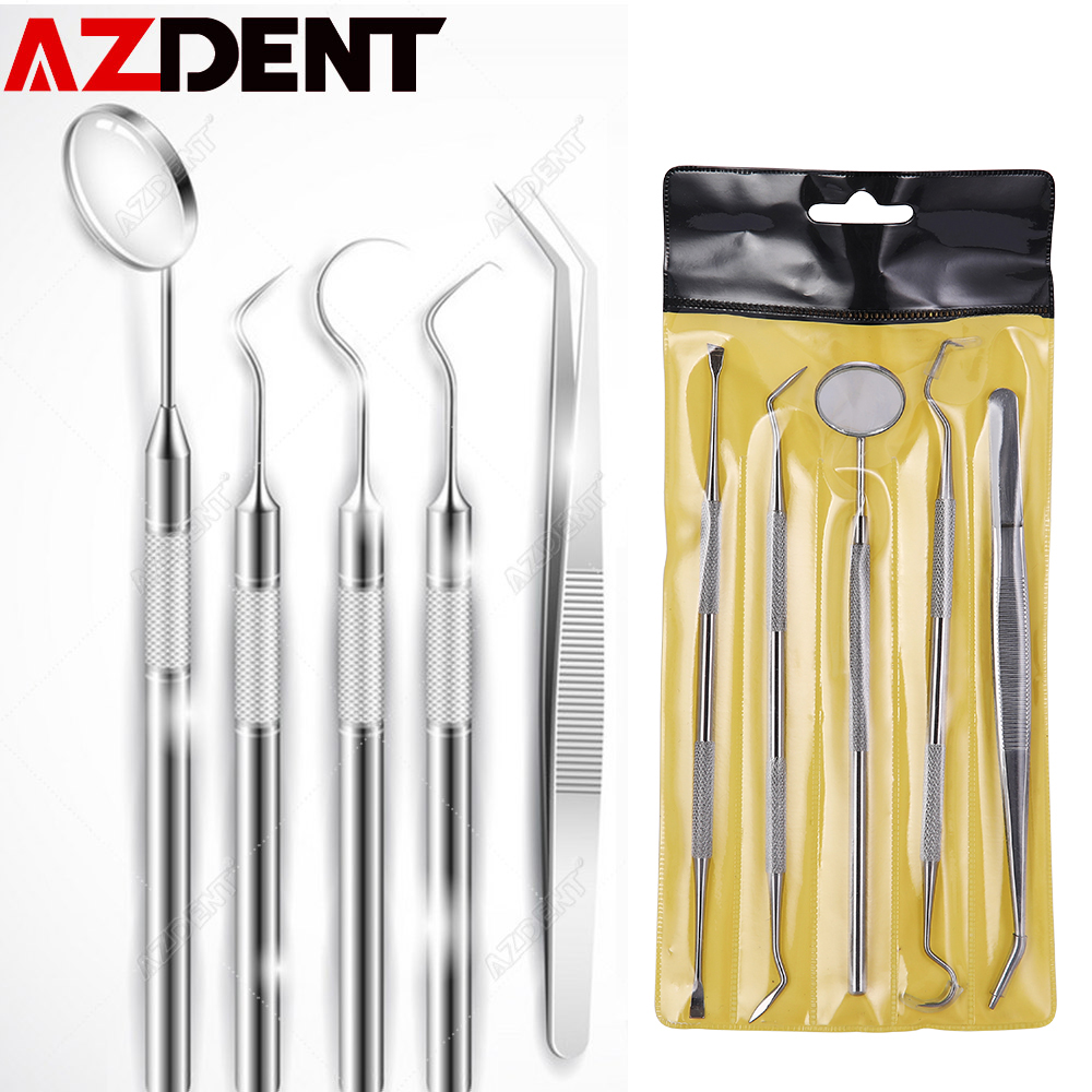 Azdent Dental Mirror Stainless Steel Dental Tool Set Mouth Mirror Dental Kit Instrument Dental Pick Dentist Prepare Tool