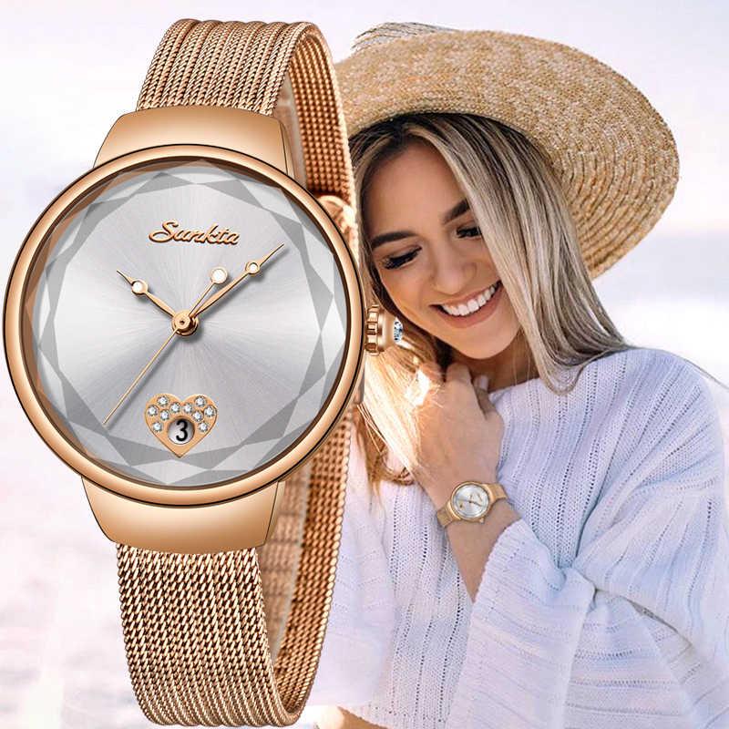 SUNKTA Brand Luxury Watch Women Fashion Dress Quartz Wrist Watch Ladies Stainless Steel Waterproof Watches Relogio Feminino+Box