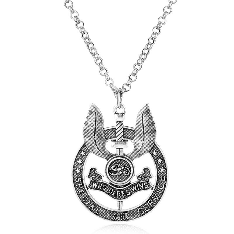 Charms Jewelry Necklace SAS British Army Special Air Service Who Dares Wins Metal Military Force Badge Pendant Necklace Men Gift