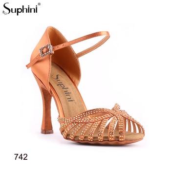 Latin-Dance-Shoes Suphini Latin Shoes, Tan Satin With Rhinestone Dance Shoe Lady Salsa Dance Shoes