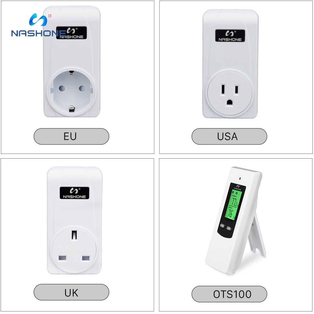 Nashone Thermostat Digital Temperatur Control Wireless Thermostat 220V LCD Display Temperature Controller socket with thermostat 5
