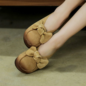 Tayunxing handmade shoes genuine leather women Bow decoration soft flats low heel comfort soft leisure casual shallow 97-7/G97-7