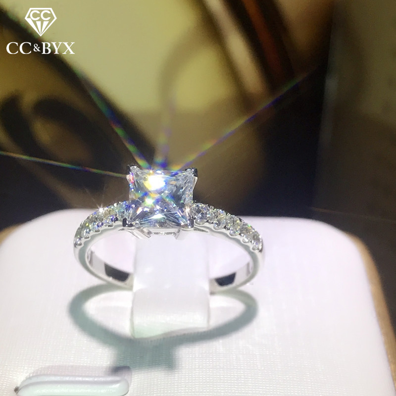 CC Women Rings 925 Silver Cubic Zirconia Square Stone Wedding Engagement Bridal Bijoux Simple Ladies Jewelry Drop Shipping CC631