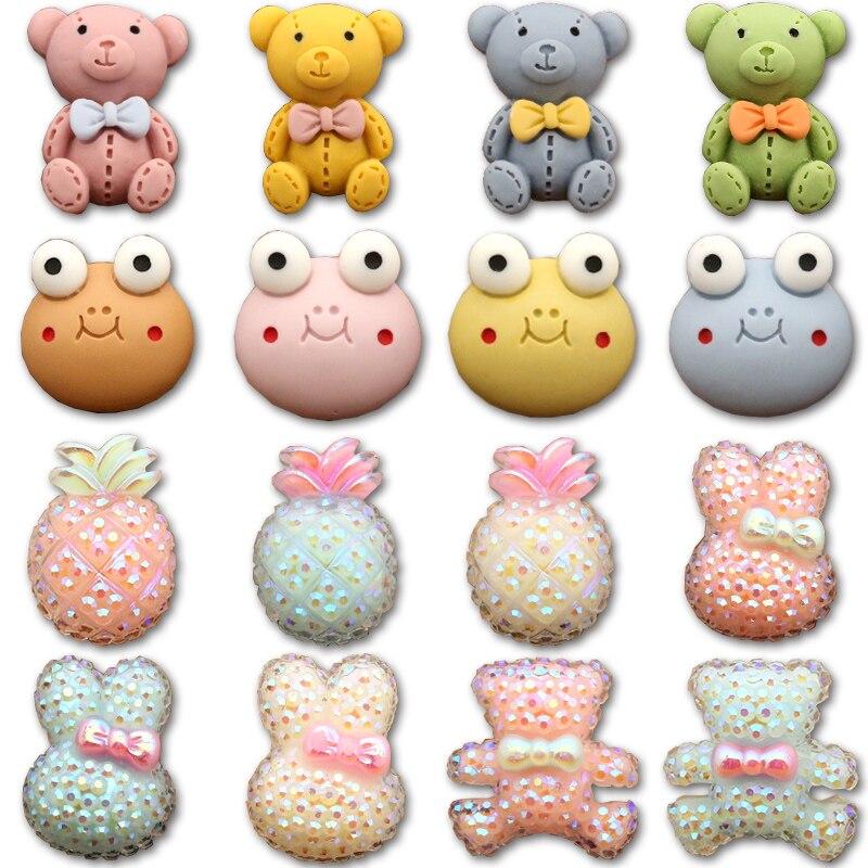 Декоративные пуговицы для детей с изображением лягушки, ананаса, кролика, медведя, детская одежда, швейная одежда для маленьких детей, 6 шт.
