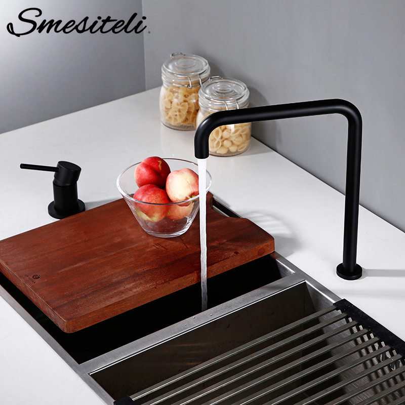 Smesiteli Brass Hot And Cold Two-Hole Separate Style Kitchen Water Cooling Head Matte Black 360 Degree Rotating Super Long Tube