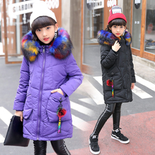 Autumn Winter brand down Jackets For Girls Coats thick Jackets  Girls Jackets Kids Hooded big fur collar Children coat 6 8 10 nimble autumn winter girls children korean style plaid jackets for girls warm cotton turn down collar outwear girl kids coats